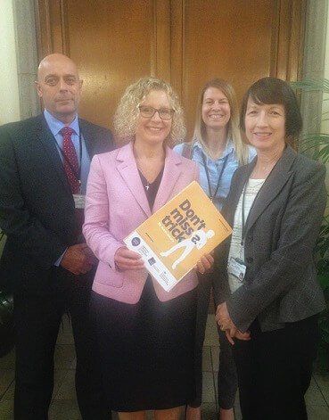 David Willetts (Dudley Council trading standards), Councillor Ruth Buttery, cabinet member for health and wellbeing, Kelly Grandison and Dolores Nellany (both Dudley Council trading standards). - promoting the scam awareness unit