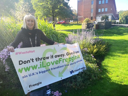 Councillor Karen Shakespeare supporting Freegle