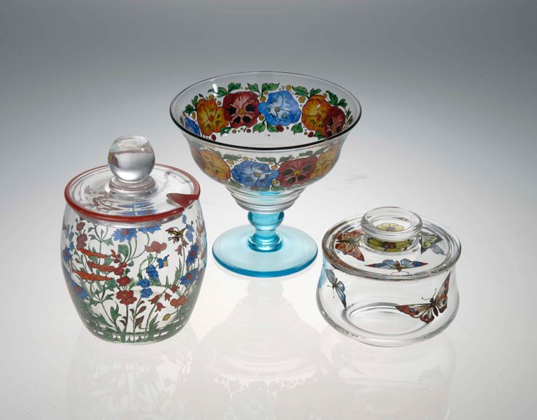 3 pieces colourful Stuart glass including honeypot
