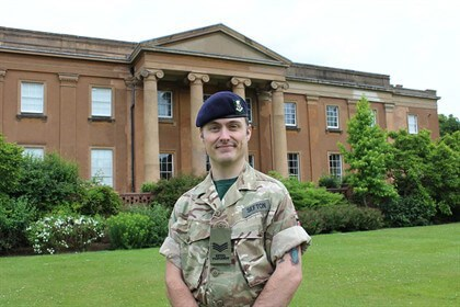 Sergeant Adam Sefton preparing for Armed Forces Day