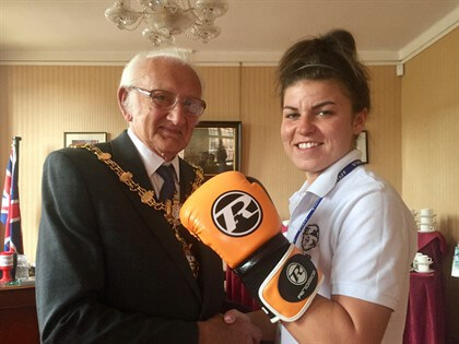 Kirstie Bavington with the Mayor of Dudley, Councillor Alan Taylor