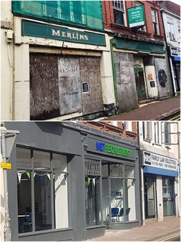 Before and after - the former Merlin's as it is now