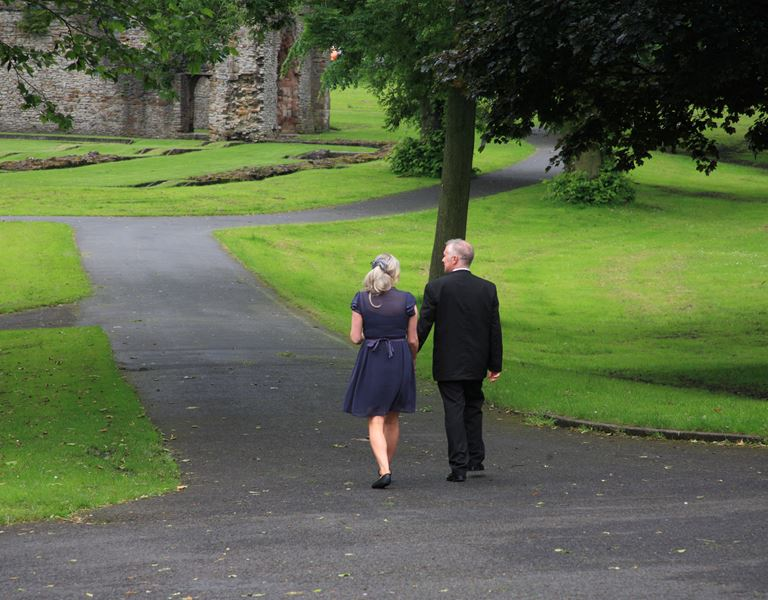 Walking towards the Priory Ruins
