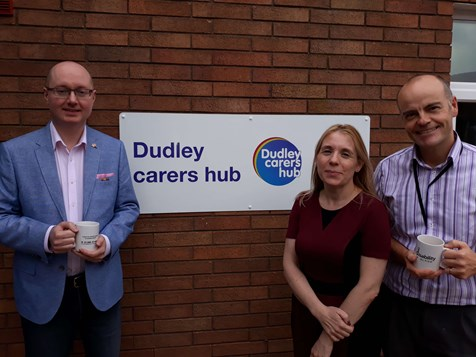 Picture of Councillor John Martin, Nicola McGregor and Paul Astley to promote the new carers hub