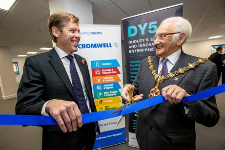 A picture of Neil Jowsey, managing director of Cromwell with the Mayor of Dudley, Councillor Alan Taylor