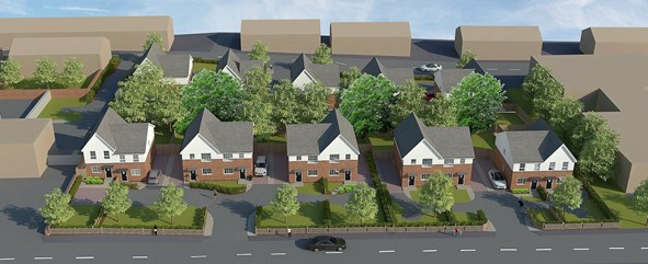 An artist impression of an aerial view of Red House Mews housing development