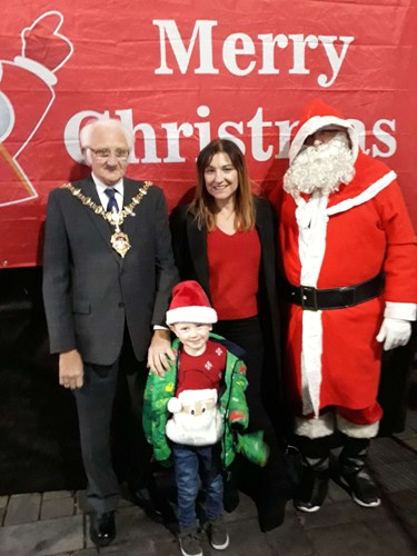 LtR: The Mayor of Dudley, Caroline Martin from Radio WM and Santa with four year old Malackey